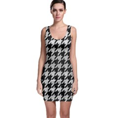 Houndstooth1 Black Marble & Silver Brushed Metal Bodycon Dress by trendistuff