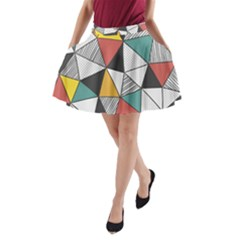 Colorful Geometric Triangles Pattern  A Line Pocket Skirt by TastefulDesigns
