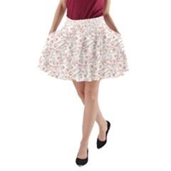 Hand Drawn Seamless Floral Ornamental Background A Line Pocket Skirt by TastefulDesigns