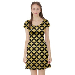 Circles3 Black Marble & Gold Brushed Metal (r) Short Sleeve Skater Dress by trendistuff