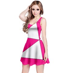 Funny Hot Pink White Geometric Triangles Kids Art Reversible Sleeveless Dress by yoursparklingshop
