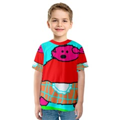 Funny Pig In Summer Red Blue Pink Kids Art Kid s Sport Mesh Tee by yoursparklingshop