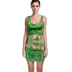 Flamingos Nature Green Pink Sleeveless Bodycon Dress by yoursparklingshop