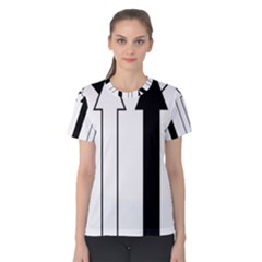 Funny Black And White Stripes Diamonds Arrows Women s Cotton Tee by yoursparklingshop