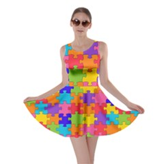 Funny Colorful Puzzle Pieces Skater Dress by yoursparklingshop