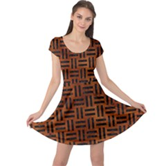 Woven1 Black Marble & Brown Burl Wood (r) Cap Sleeve Dress