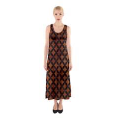 Circles3 Black Marble & Brown Burl Wood (r) Sleeveless Maxi Dress by trendistuff
