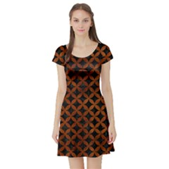Circles3 Black Marble & Brown Burl Wood Short Sleeve Skater Dress by trendistuff