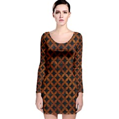 Circles3 Black Marble & Brown Burl Wood Long Sleeve Velvet Bodycon Dress by trendistuff
