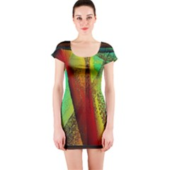 Stained Glass Window Short Sleeve Bodycon Dress by SugaPlumsEmporium