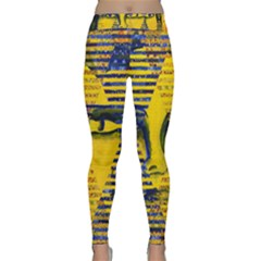 Conundrum Ii, Abstract Golden & Sapphire Goddess Yoga Leggings by DianeClancy