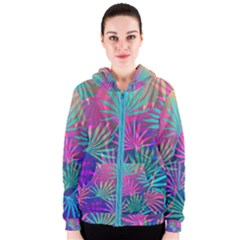 Colored Palm Leaves Background Women s Zipper Hoodie by TastefulDesigns