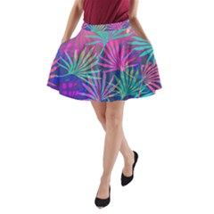 Colored Palm Leaves Background A Line Pocket Skirt by TastefulDesigns