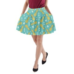 Summer Pineapples Fruit Pattern A Line Pocket Skirt by TastefulDesigns