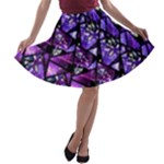 Blue purple Shattered Glass A-line Skater Skirt