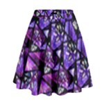 Blue purple Shattered Glass High Waist Skirt
