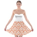 Nectarine Orange Damask Pattern Strapless Dresses