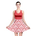 Damask Pattern Poppy Red And White Reversible Skater Dress