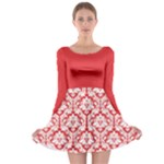 Damask Pattern Poppy Red And White Long Sleeve Skater Dress