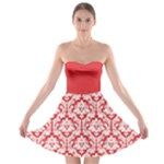 Damask Pattern Poppy Red And White Strapless Dresses