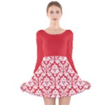 Damask Pattern Poppy Red And White Long Sleeve Velvet Skater Dress