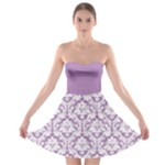 Damask Pattern Lilac And White Strapless Dresses