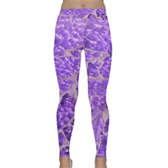 Festive Chic Purple Stone Glitter  Yoga Leggings by yoursparklingshop