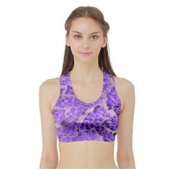 Festive Chic Purple Stone Glitter  Women s Sports Bra With Border by yoursparklingshop
