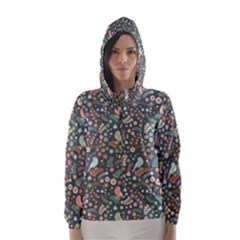 Vintage Flowers And Birds Pattern Hooded Wind Breaker (women)