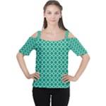 Emerald green quatrefoil pattern Women s Cutout Shoulder Tee