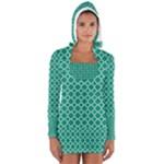 Emerald green quatrefoil pattern Women s Long Sleeve Hooded T-shirt
