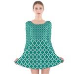 Emerald green quatrefoil pattern Long Sleeve Velvet Skater Dress