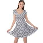 Grey Quatrefoil Pattern Cap Sleeve Dress