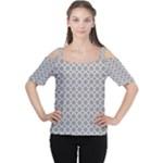 Grey Quatrefoil Pattern Women s Cutout Shoulder Tee