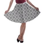 Grey Quatrefoil Pattern A-line Skater Skirt