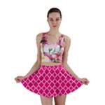 Hot pink quatrefoil pattern Mini Skirt