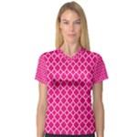Hot pink quatrefoil pattern Women s V-Neck Sport Mesh Tee