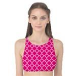 Hot pink quatrefoil pattern Tank Bikini Top