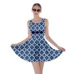 Navy blue quatrefoil pattern Skater Dress