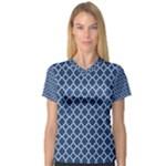 Navy blue quatrefoil pattern Women s V-Neck Sport Mesh Tee