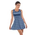 Navy blue quatrefoil pattern Cotton Racerback Dress
