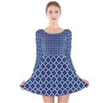 Navy blue quatrefoil pattern Long Sleeve Velvet Skater Dress