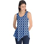 Navy blue quatrefoil pattern Sleeveless Tunic