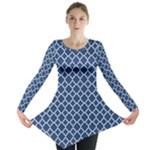 Navy blue quatrefoil pattern Long Sleeve Tunic