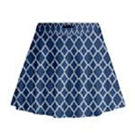 Navy blue quatrefoil pattern Mini Flare Skirt