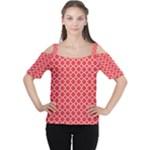 Poppy Red Quatrefoil Pattern Women s Cutout Shoulder Tee