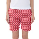 Red White Quatrefoil Classic Pattern Women s Basketball Shorts