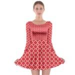 Poppy Red Quatrefoil Pattern Long Sleeve Skater Dress