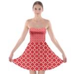 Poppy Red Quatrefoil Pattern Strapless Bra Top Dress