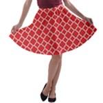 Poppy Red Quatrefoil Pattern A-line Skater Skirt